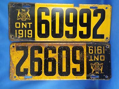 Ontario License Plate S 1919 60992 Set Pair Classic Car Collector Shop Sign