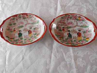 Two Vintage Japanese Oval Dishes