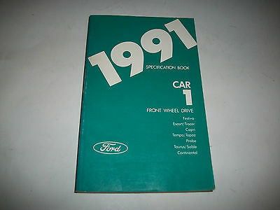 1991 Ford Front Wheel Drive Cars Specifications Manual Taurus Continental, Probe