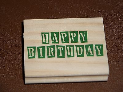 "Wooden ""Happy Birthday"" Rubber Printing Stamp - Brand New"