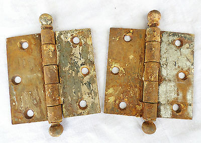 Antique Pair Of Metal Door Hinges Brown Hardware Primitive Repurpose!