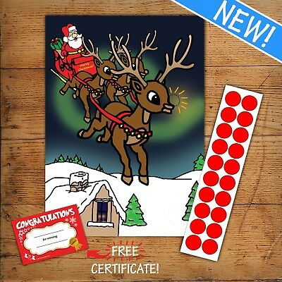PIN THE NOSE ON THE REINDEER - Children's or Office Christmas Game - 20 player