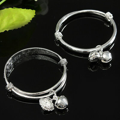 Children Baby Silver Bangle Plated Jingle Bells Expandable Bracelet