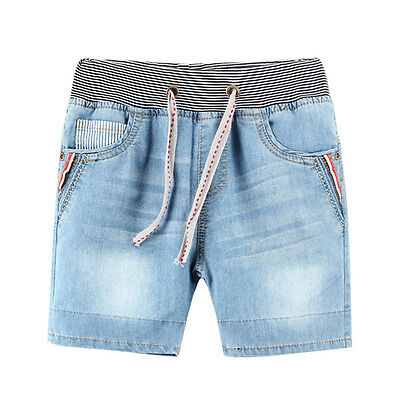 Children Boy Light Blue Spring Summer Jeans Super Soft Washing Shorts Pants Trou