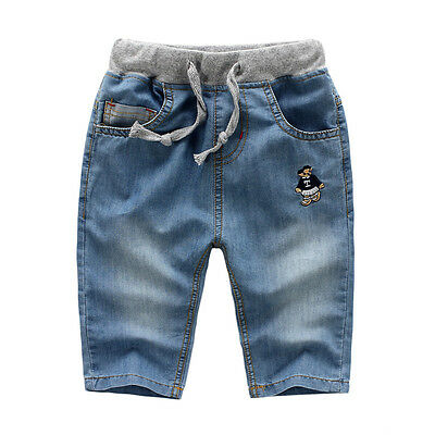 Children Boy Spring Summer Jeans Super Soft Washing Capri Pants Trousers