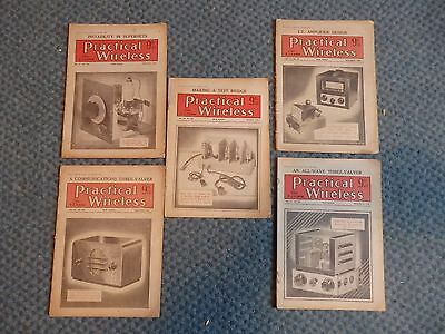 Practicle Wireless Magazine x5 issues 1940's Vintage Wireless