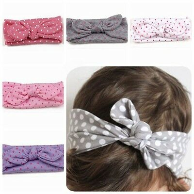 Cute Baby Knot Rabbit Hairband Headband Dot Turban Headwrap Girls Kids Toddler