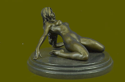 Erotic Sensual Nude Female Woman Signed Bronze Marble Statue Sculpture Sexy Art