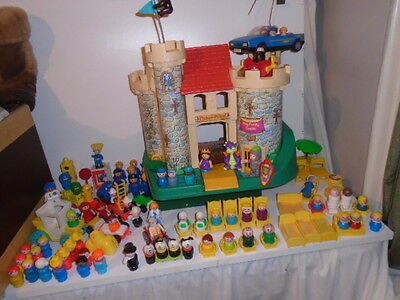Vintage Fisher Price 993 Castle Parts & 115+/  Pieces 70 Odd People  Circa 1974