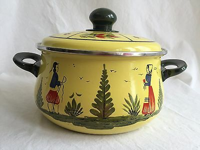 Vintage Henriot Quimper Germany Covered Cooking Bean Pot Yellow Enamel 1B RARE