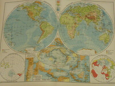 Philips 1940 Coloured Map World in Hemispheres Physical 2nd World War Period