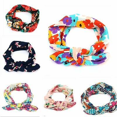 Kids Baby Girl Infant Floral Flower Bow Hairband Turban Knot Rabbit Headband Hea
