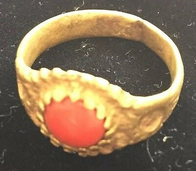 Ancient Roman 100 B.C Bronze RING & Red Natural CORAL