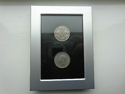 1951 George VI Sixpence Coins In Silver Frame Old British Coins.