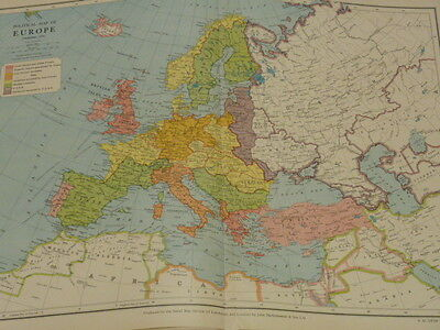 Philips December 1940 Coloured Map Political Map of Europe 2nd World War Period