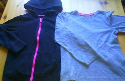 Girls 2 Tops Black Ziped Hoodie F&f Grey Long Sleeved Top Size 7-8 Years