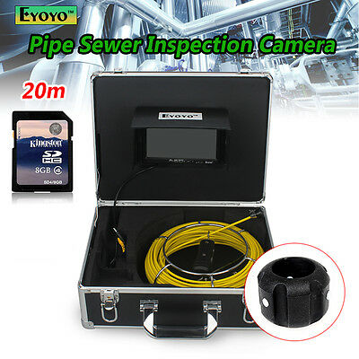 "20M 7"" Screen Sewer Waterproof Camera Pipe Pipeline Drain Inspection HD CCTV Cam"