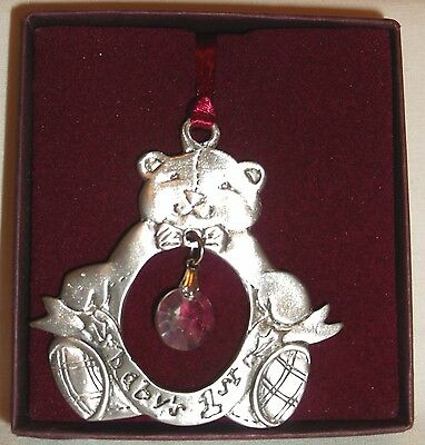 SEALGULL Pewter Baby's 1st First Christmas Teddy Bear Ornament ~ Undated