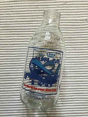 Vintage Collectable GLASS MILK BOTTLE with ADVERTISING - KLM.