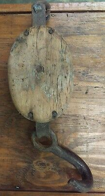 Antique Pulley - Block and Tackle, Wood & Cast Iron, Heavy Duty