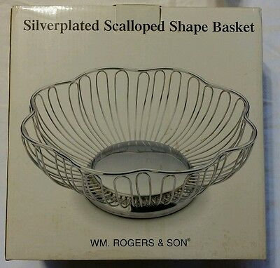 William Rogers & Son Wire Fruit Bread Serving Bowl Basket Scalloped Silver Plate
