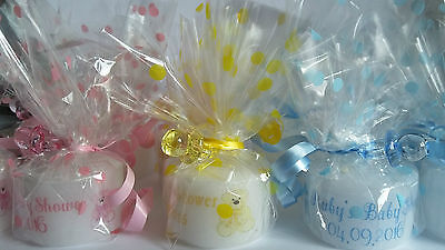 Personalised Tealight Candle Baby Shower/ Christening Favors