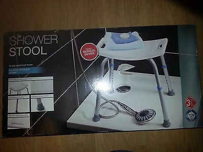 Aluminium Shower Seat Bench Stool chair Adjustable Height, non-slip cover