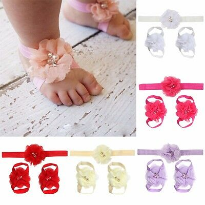Kids Girl Baby Toddler Headband Hair Band Headwear Foot Flower Accessories Set