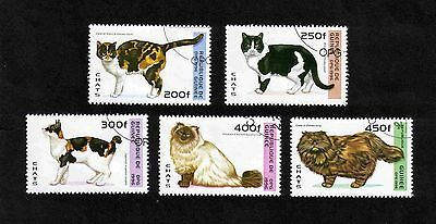 Guinea 1996 Cats short set of 5 values used