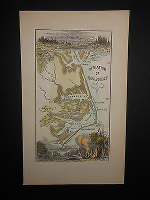 Roanoke Virginia Area In The 1600s Hand Colored Cape Hatteras Secotan Indians
