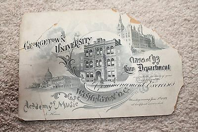 Vintage 1893 Georgetown University Law Department Commencement Invitaion