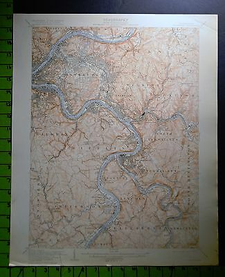 Pittsburgh Pennsylvania 1915 Antique USGS Topographic Map 16x20