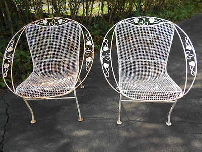 Matched Pair of Iron Mid Century Modern Patio Chairs