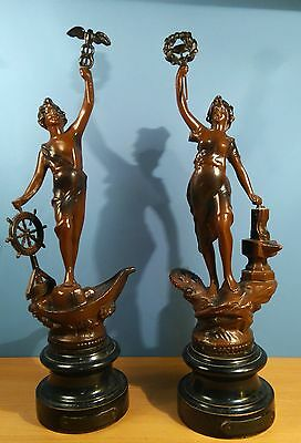 "Pair of Vintage Spelter Figurines  ""Le Commerce"" and ""L'industrie""  Marked ASCO"