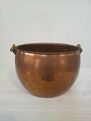"Antique finish Copper Decorative Planter-6"" round/handle"