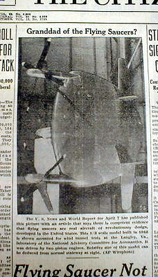 2 1950 newspapers w close-up photo of Early FLYING SAUCER + More UFO sightings