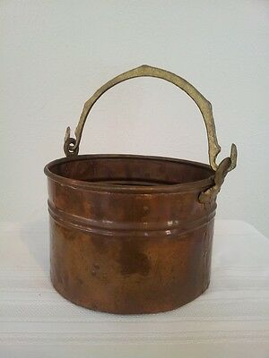 "Antique finish Copper Decorative Planter 6"" Bucket/handl"