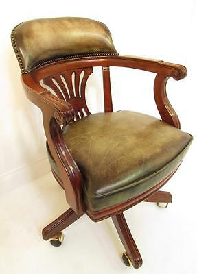 A Good  Antique Style Hand Dyed Leather Revoving Desk Chair