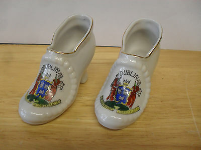 Pair Of Crested China Shoes Of Dublin