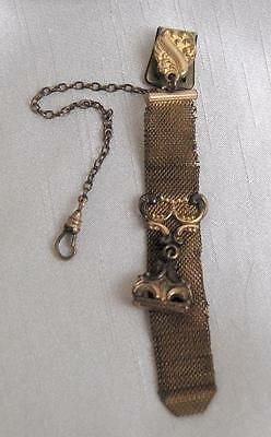 Antique Victorian Gold Wash Pocket Watch Chain & Fob F.M.Co