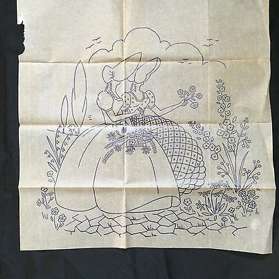 """Vintage Embroidery Transfer Large Crinoline Lady Approx 16"""" Square E10"""
