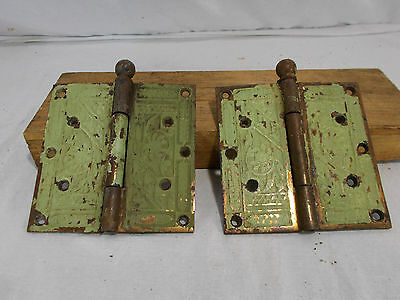 Extra Large Antique Victorian Eastlake Hinges Late 1800's Church Entrance Door