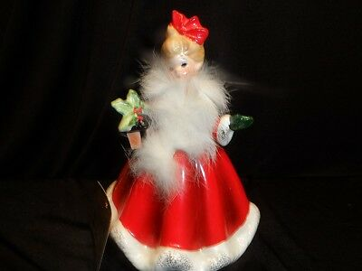 Josef Christmas Girl with Lantern & Holly Ave Maria Music Box 1970's Rare