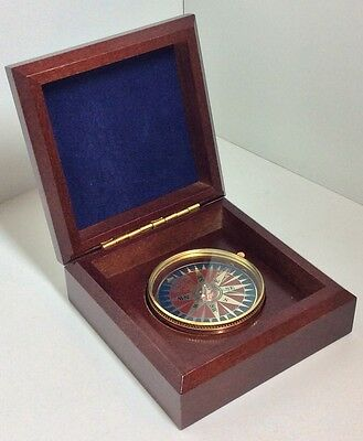 Mahogany Box With Brass Compass / Antique Style Navigational Nautical Travel