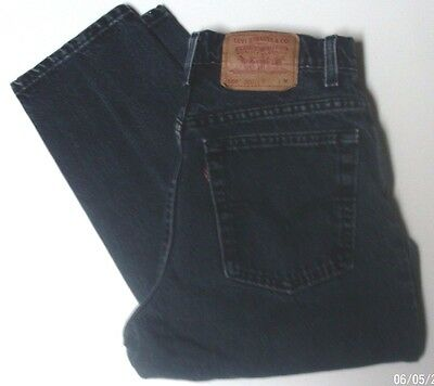 Levis Vintage Black Denim Womens 550 Relaxed Fit Tapered Leg 11 MED High Waisted