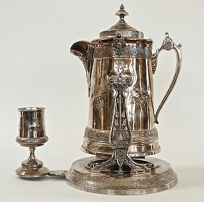 Antique Reed & Barton Silver plate Tilting Water Pitcher with Goblet Cooler Jug