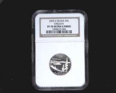 2005-S Silver Quarter 25C Oregon graded PF70 Ultra Cameo by NGC