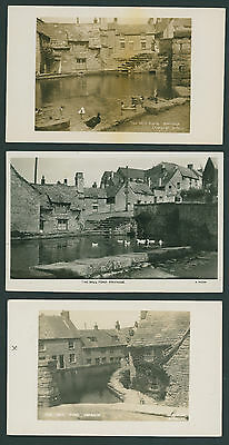 3 RP postcards of The Mill Pond by B Potter. Swanage DORSET