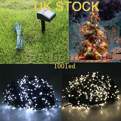XMAS 100 LED Cool White Solar Powered Garden Indoor/Outdoor Fairy string Lights