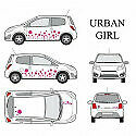 Kit stickers car déco 'urban girl' rose Taille S